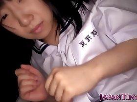 Tiny uniformed asian swallows jizz
