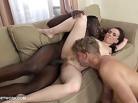 Cuck husband pleasuring his wife with a black man cock she gets interracial anal