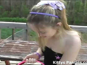 Innocent 18yo Kitty hunting for Easter eggs