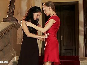 Classy lesbians have fun on the stairs in Chateau Lappers by Sapphic Erotica