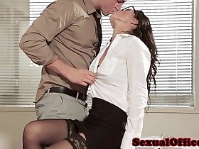 Office sex babe in glasses and stockings