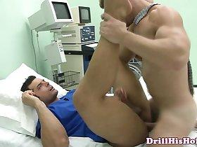 Muscular male nurse gets ass fucked