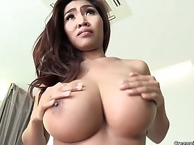 Glorious busty Thai girl feels jets of warm sperm enter her tight cunt