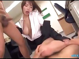 Office Lady In Pantyhose Fingered By 2 Guys Sucking Their Cocks Giving Footjob O