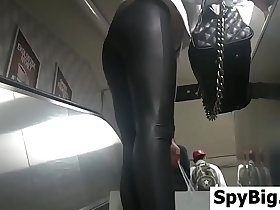 Skinny Blonde In Leather And High Heels